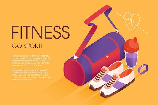 Fitnesstasche trainingsturnschuhe shaker und trainingsuhr illustration im lebendigen isometrischen stil