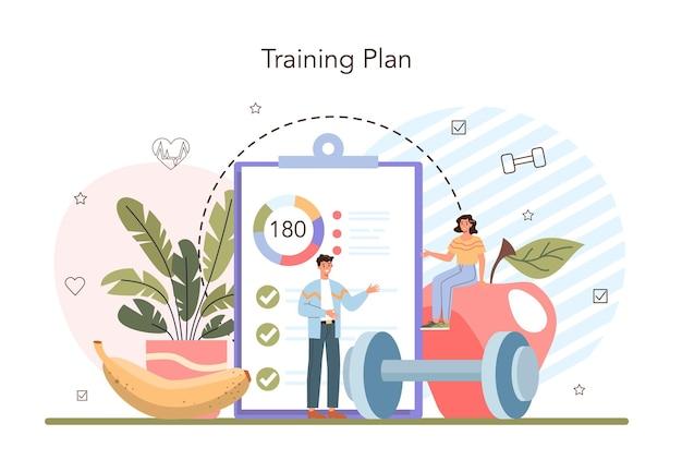 Fitnesstrainerkonzept training im fitnessstudio mit profisportler