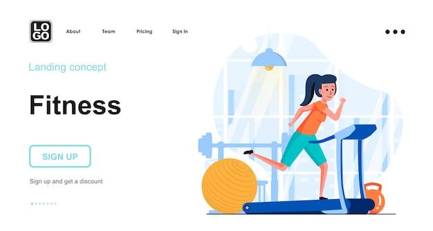 Fitnesstraining flaches designkonzept
