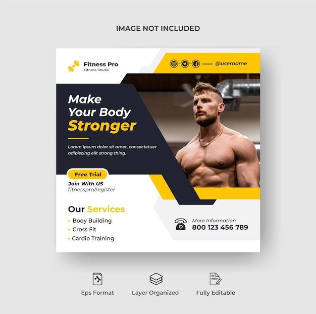 Fitnesstraining instagram-post oder social-media-webbanner-vorlage premium-vektor