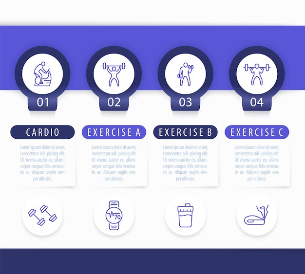Fitnesstraining, training, 4 schritte infografik-vorlage, mit linie fitness-symbole