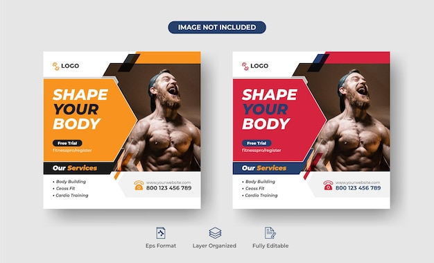 Fitnesszone social media instagram post banner oder cover designvorlage premium-vektor