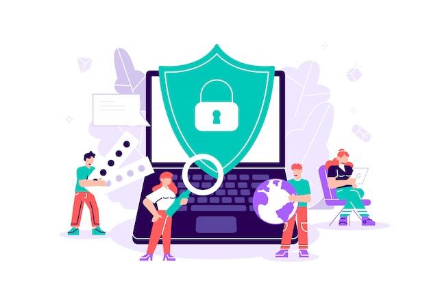 Flach auf weiß. konzept datenschutz, internetsicherheit. online-sicherheit, sicheres surfen im internet