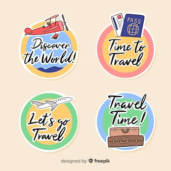 Flach eingekreiste reiseetiketten