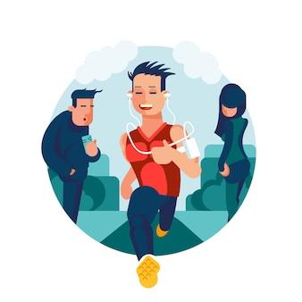 Flach gestalteter charakter eines läufers, der durch stadtbild läuft. vorderansicht eines laufenden mannes.