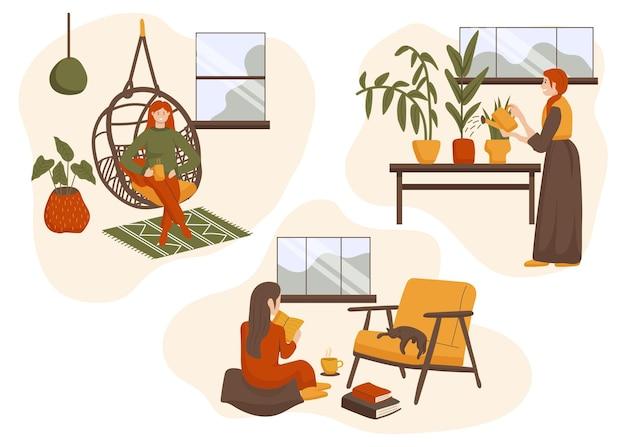 Flach gezeichnete hygge-lifestyle-szenen Kostenlosen Vektoren