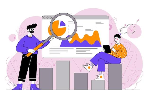 Flach gezeichnete personen, die wachstumscharts analysieren