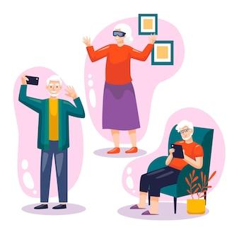 Flach gezeichnete senioren mit technologie