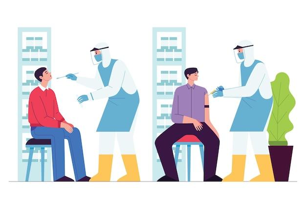 Flach gezeichneter patient, der eine ärztliche untersuchung durchführt