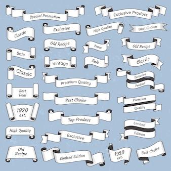 Flach graviertes vintage-label. alte victorianfarbband-fahnensammlung