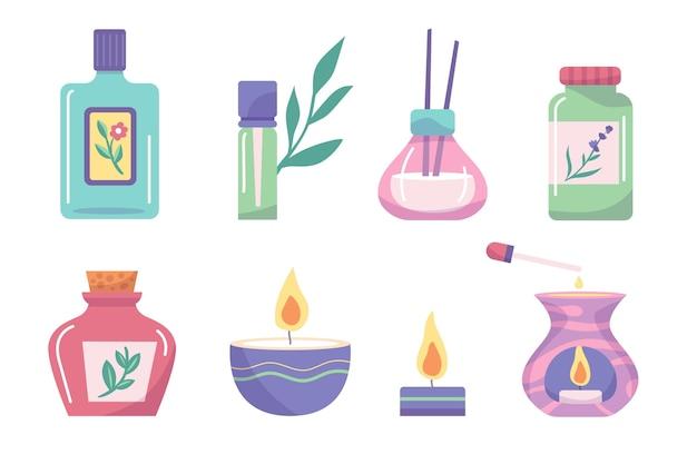 Flach handgezeichnetes aromatherapie-elementset