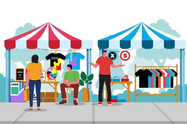 Flach handgezeichnetes flohmarktkonzept
