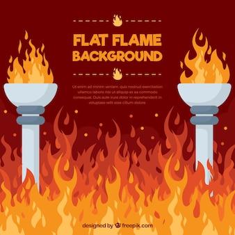 Flach hintergrund mit flammen und fackeln
