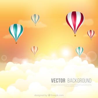 Flach hintergrund mit heißluftballons