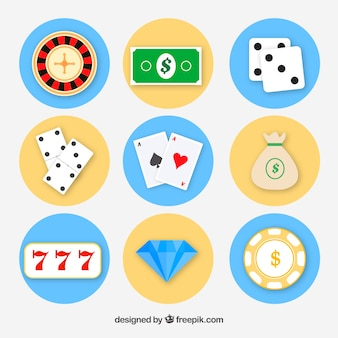 Flach icons für casinospiele