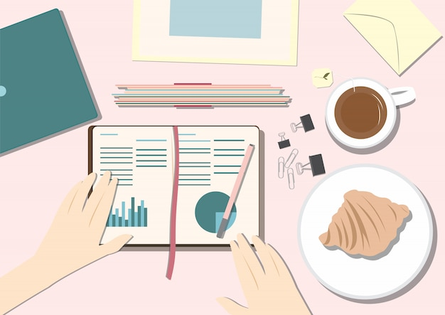 Flach lay work desk top situation illustration