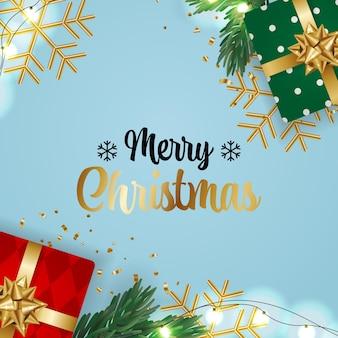 Flach legen weihnachtsgeschenk geschenkdekoration