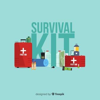 Flach notfall-überlebens-kit