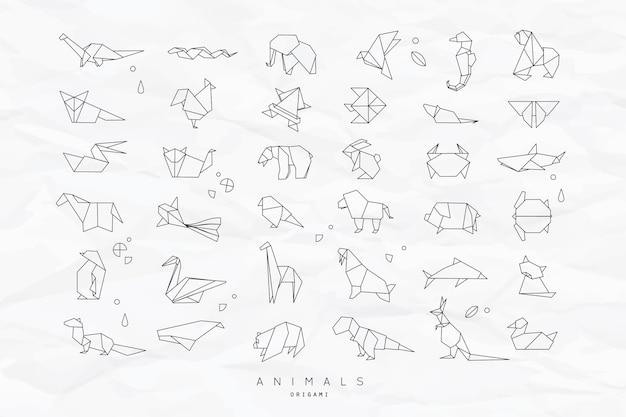 Flach origami-set der tiere zerknittert
