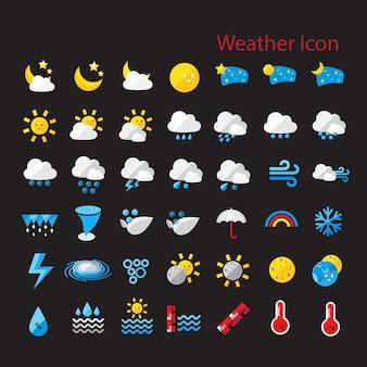 Flach stil wetter icon-set