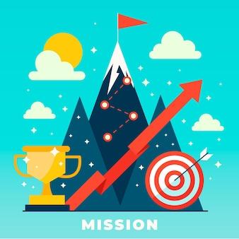 Flach unser missionskonzept illustriert mit einem berg