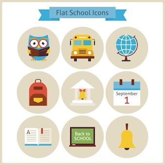 Flach zurück zu schule und wissenschaft icons set. flach gestaltete vektor-illustrationen. zurück zur schule. wissenschaft und bildung-set. sammlung von kreissymbolen