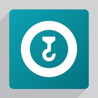 Flachbaukran-symbol, weiß auf grünem hintergrund