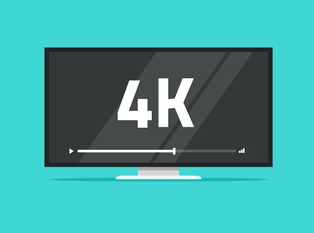 Flachbildschirm führte fernsehen mit flacher karikatur der videotechnologie 4k ultra hd