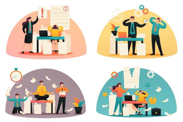 Flache 2d-konzepte zeitpunkt der steuerzahlungen, ausfüllen des steuerformulars, stresssituation. konzept für webdesign.