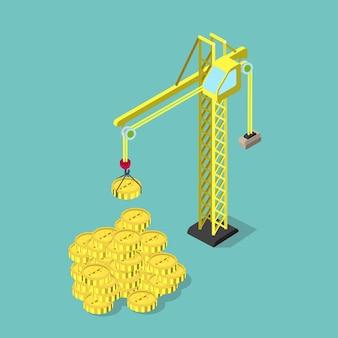 Flache 3d-isometrie bauen ihr geschäftskonzept des finanziellen gewinns wohlstand auf