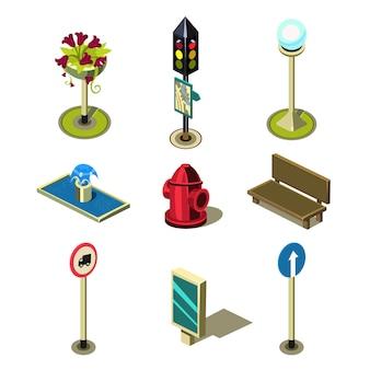 Flache 3d isometrische hohe qualität stadtstraße städtische objekte icon set