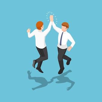 Flache 3d-isometrische zwei geschäftsleute, die springen und hoch fünf in die luft geben. geschäftserfolg feier konzept.