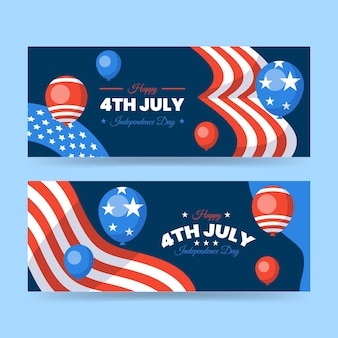 Flache 4. juli - unabhängigkeitstag banner gesetzt