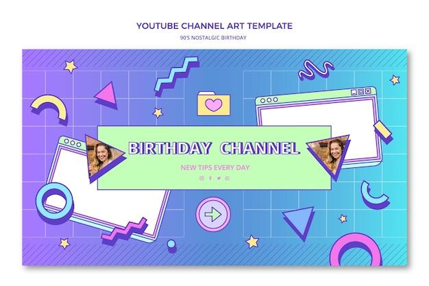 Flache 90er jahre nostalgische geburtstags-youtube-kanalkunst