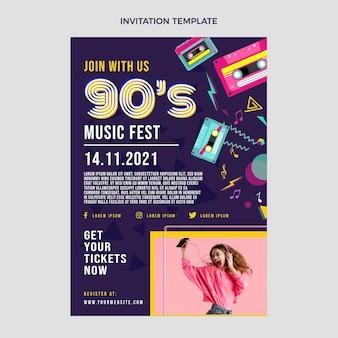 Flache 90er jahre nostalgische musikfestival-einladungsvorlage