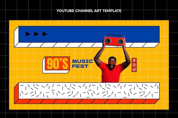 Flache 90er jahre nostalgische musikfestival-youtube-kanal-kunstvorlage