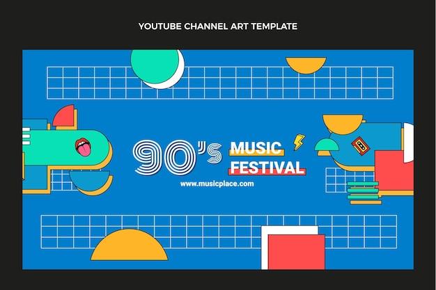 Flache 90er jahre nostalgisches musikfestival youtube-kanalkunst
