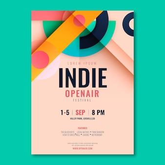 Flache a5 flyer vorlage indie fest