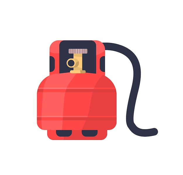 Flache abbildung des brennbaren gases des roten tanks Premium Vektoren