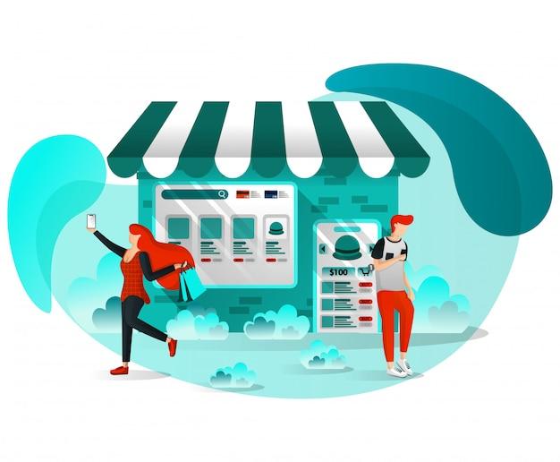 Flache abbildung des fenster-einkaufs