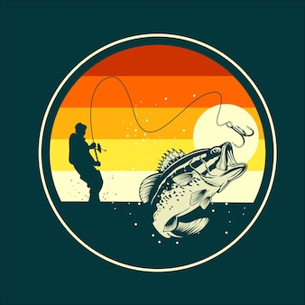 Flache abbildung des fischens