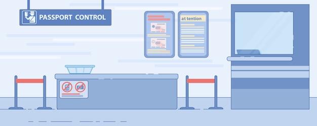 Flache abbildung des flughafenpasskontrolldienstes