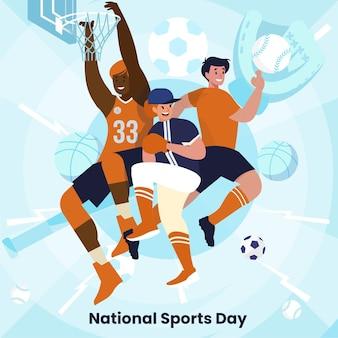 Flache abbildung des nationalen sporttages Premium Vektoren