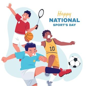 Flache abbildung des nationalen sporttages
