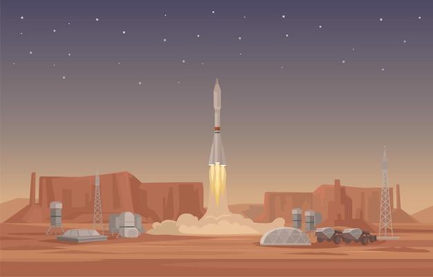 Flache abbildung des raketenstarts