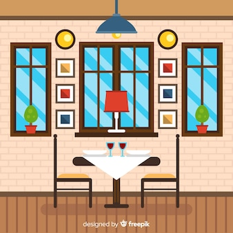 Flache abbildung des restaurants