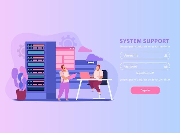 Flache abbildung mit zwei systemadministratoren ihren arbeitsplatz und formular für benutzername und passwort