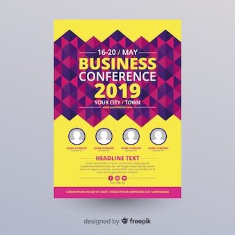 Flache abstrakte business konferenz flyer vorlage