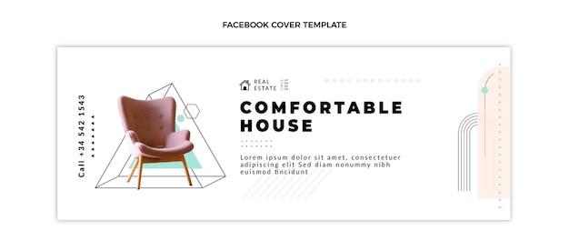 Flache abstrakte geometrische immobilien-facebook-abdeckung