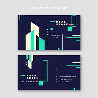 Flache abstrakte geometrische immobilien horizontale visitenkarte